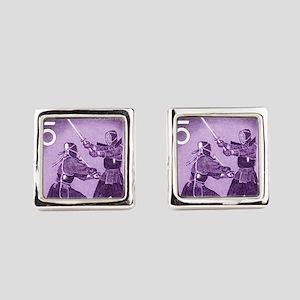 Purple Vintage 1960 Japan Kendo Postage  Cufflinks