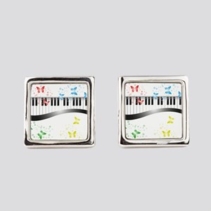 Butterfly piano music Square Cufflinks