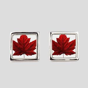 Canada Maple Leaf Souvenir Square Cufflinks