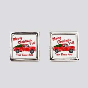 Merry Christmas Yall Square Cufflinks