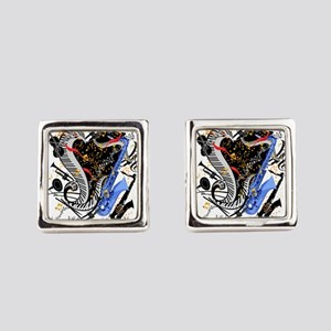 Musical Instruments Band Colorful Square Cufflinks