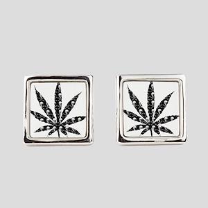 Skull Marijuana Leaf Square Cufflinks