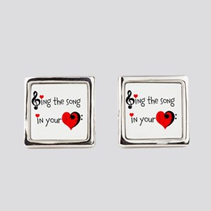 Heart Song Square Cufflinks