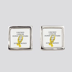 Cancer Bully (Gold Ribbon) Square Cufflinks