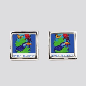 Macaw, Parrot, Butterfly, Jungle Square Cufflinks