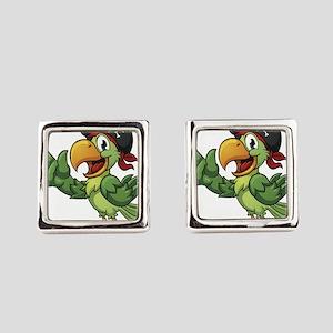 Pirate-Parrot Square Cufflinks