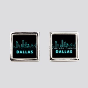 Digital Cityscape: Dallas, Texas Square Cufflinks