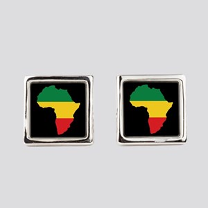 Green, Gold and Red Africa Flag Square Cufflinks