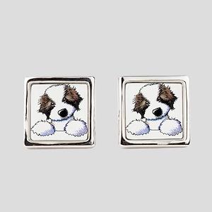 St. Bernard Puppy Pocket Square Cufflinks