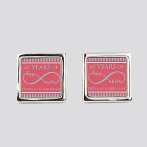 Personalized 60th Anniversary Inf Square Cufflinks