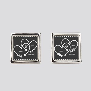 Mr. and Mrs. Wedding Customizable Square Cufflinks