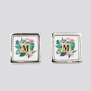 Personalized Flamingo Monogrammed Square Cufflinks