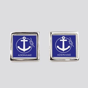 Blue Nautical Rope and Anchor Per Square Cufflinks