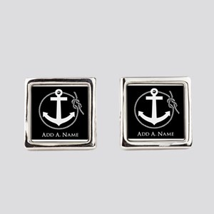 Black and White Nautical Rope and Square Cufflinks
