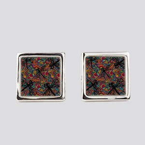 Hippy Dragonfly Flit Square Cufflinks