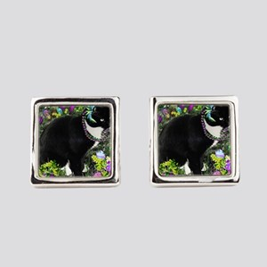 Freckles the Tux Cat in Easter Eggs Cufflinks
