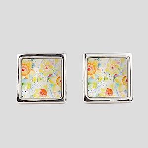 Watercolor Daffodils Pattern Square Cufflinks