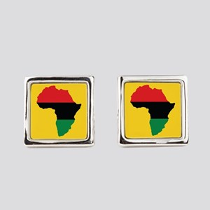 Red, Black and Green Africa Flag Square Cufflinks