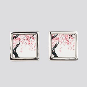 Japanese Cherry Tree Square Cufflinks