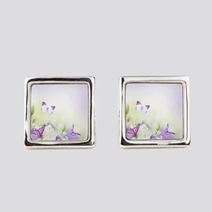 Flowers and Butterflies Square Cufflinks