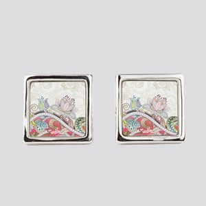Abstract Floral Square Cufflinks