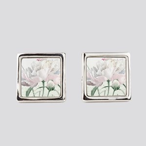 Beautiful Peony Square Cufflinks