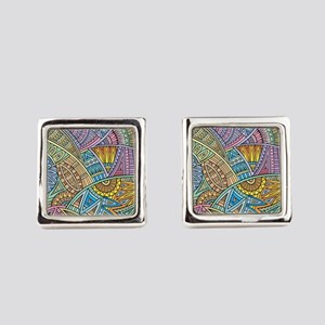 Colorful Abstract Square Cufflinks