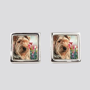 Airedale Painting Square Cufflinks