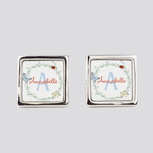 Cute Butterfly Floral Monogram Square Cufflinks
