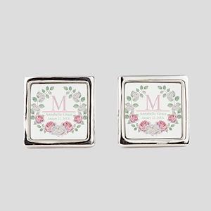 Baby Girl Floral Monogram Square Cufflinks