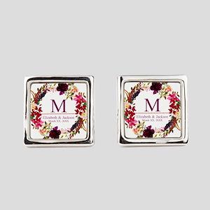 Boho Wreath Wedding Monogram Square Cufflinks
