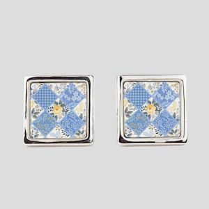 Patchwork Floral Square Cufflinks