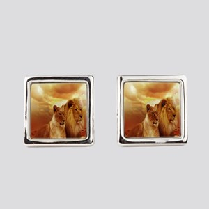 Africa Lion and Lioness Square Cufflinks