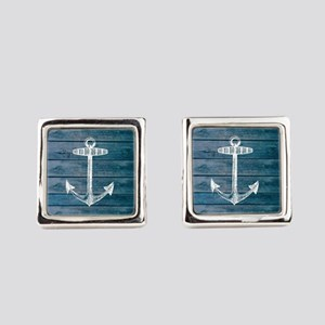 Anchor on Blue faux wood graphic Cufflinks