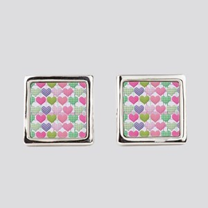 Gingham Hearts Pastel Pattern Square Cufflinks