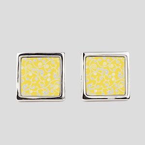 Elegant Yellow and Gray Scroll Pattern Cufflinks