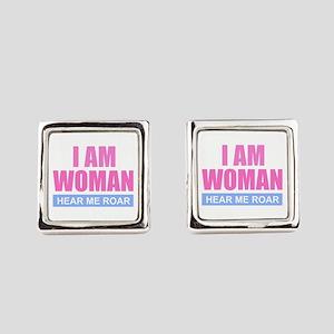 I Am Woman - Hear Me Roar Square Cufflinks