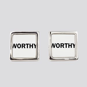 Worthy Bold Inspiration Motivatio Square Cufflinks