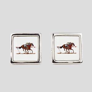 Jockey on Racehorse Square Cufflinks