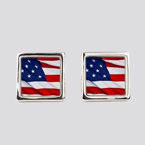 United States Flag in All Her Glo Square Cufflinks