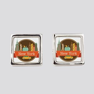 New York Big Apple Badge Cufflinks