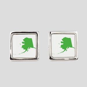 Alaska State Shape Outline Square Cufflinks