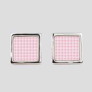 Pink Gingham Checkered Pattern Square Cufflinks