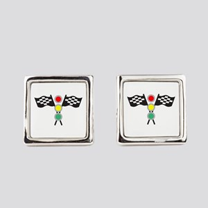 RACING FLAGS AND LIGHTS Square Cufflinks