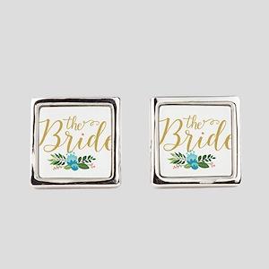 The Bride-Modern Text Design Gold Square Cufflinks