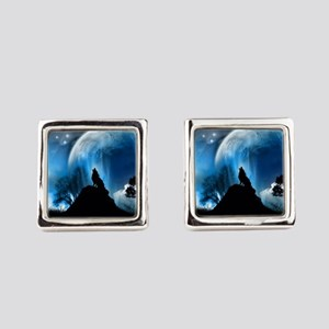 Wolf Howling At The Moon Square Cufflinks