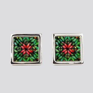 All-over Green Quilt Square Cufflinks