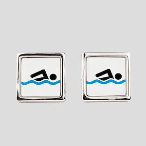 swimming Square Cufflinks