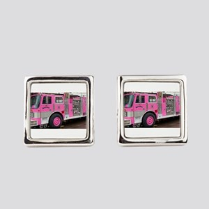 Pink Fire Truck (real) Square Cufflinks