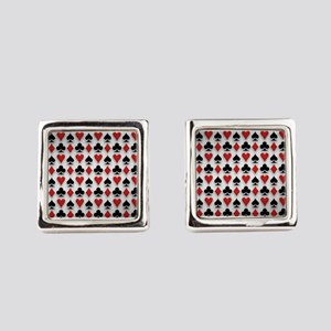 Spades Clubs Diamonds and Hearts Square Cufflinks